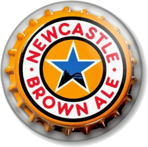 Newcastle Brown Ale Bottle Top Pinback Button Badge Beer