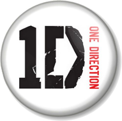 One Direction Logo White Pinback Button Badge 1D Harry ...