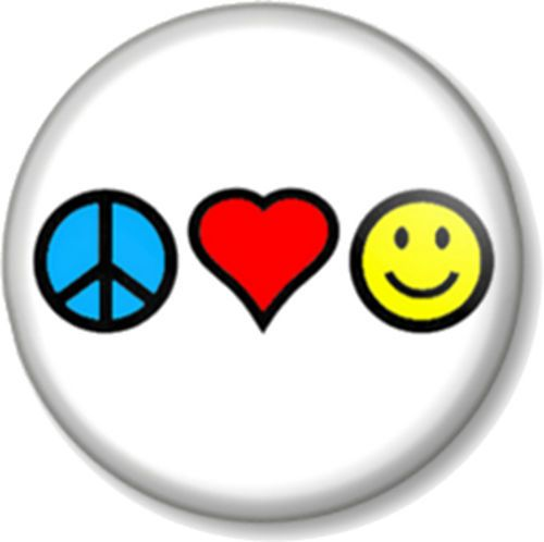 Peace Love And Happiness Pinbck Button Badge Hippie Pacifist Message