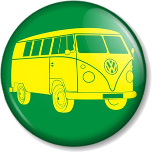 VW Camper Van Logo Pin Button Badge Retro Volkswagen Green Yellow Hippie Car Vintage Caravan
